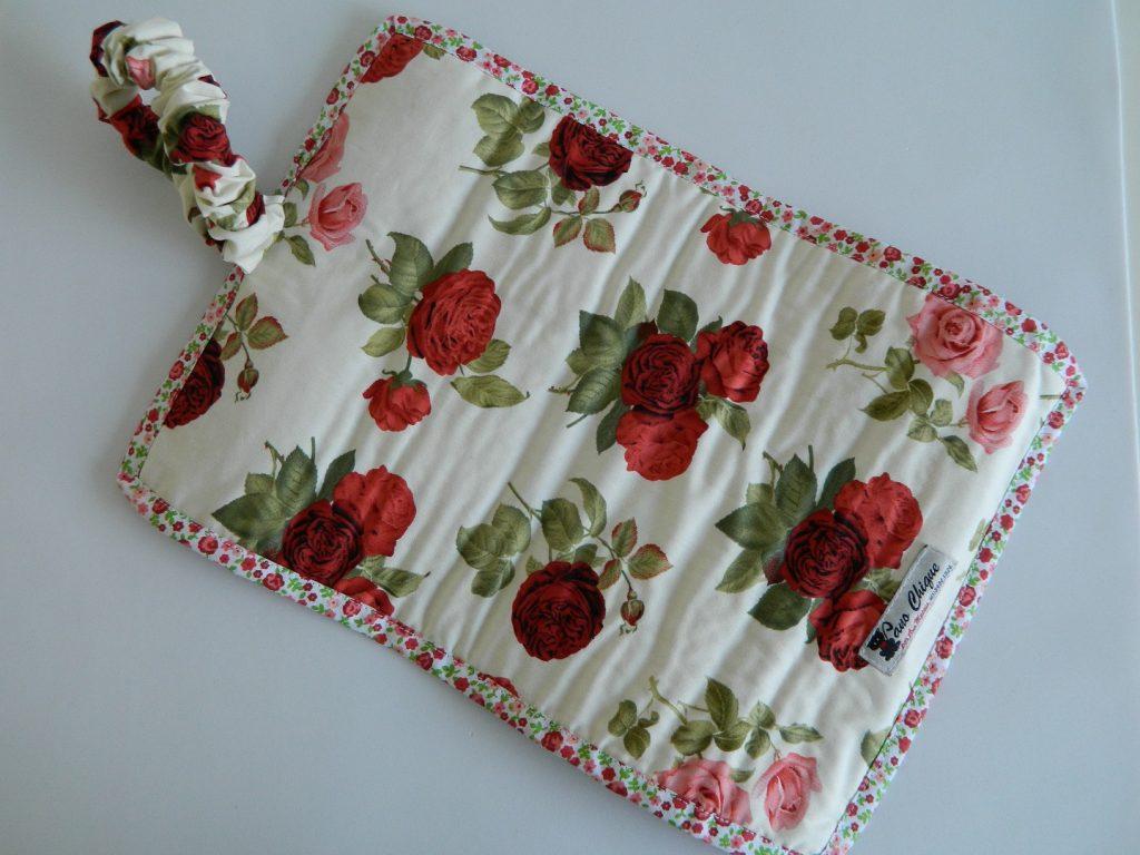 Porta jóias de tecido - rosas vermelhas
